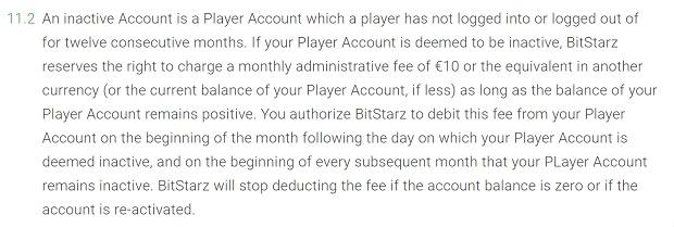 Nieaktywne konto BitStarz