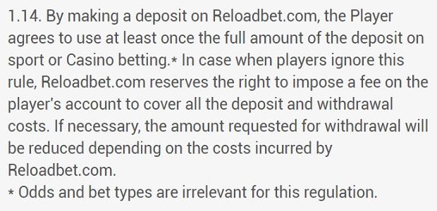 ReloadBet Opłata za transfer środków